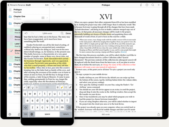 Scrivener is available for iOS